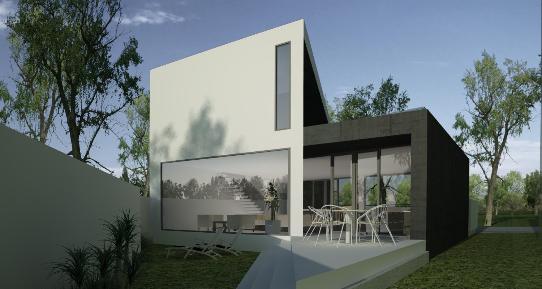 Proiect Locuinta Moderna pe teren triunghiular cu alipire la calcan in Bucuresti